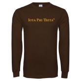 Brown Long Sleeve T Shirt-Iota Phi Theta - Small Caps