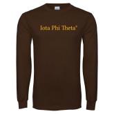 Brown Long Sleeve T Shirt-Iota Phi Theta