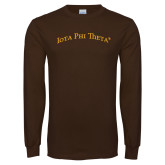 Brown Long Sleeve T Shirt-Arched Iota Phi Theta