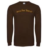 Brown Long Sleeve T Shirt-Arched Iota Phi Theta