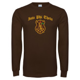 Brown Long Sleeve T Shirt-Iota Phi Theta w/ Crest