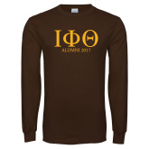 Brown Long Sleeve T Shirt-Greek Letters Alumni Year