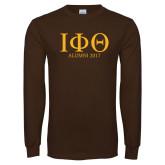 Brown Long Sleeve T Shirt-Greek Letters Alumni Year