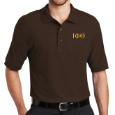 Brown Easycare Pique Polo-Greek Letters