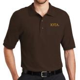 Brown Easycare Pique Polo-IOTA - Small Caps