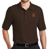 Brown Easycare Pique Polo-Crest
