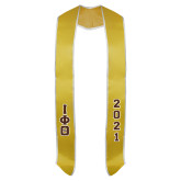 2017 Gold Graduation Stole w/White Trim-Greek Letters Tackle Twill Stacked