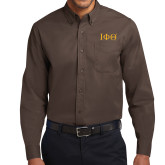 Brown Twill Button Down Long Sleeve-Greek Letters