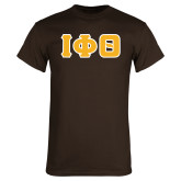 Brown T-Shirt-Greek Letters Tackle Twill