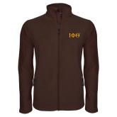 Fleece Full Zip Brown Jacket-Greek Letters