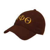 Brown Twill Unstructured Low Profile Hat-Greek Letters