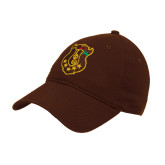 Brown Twill Unstructured Low Profile Hat-Crest