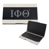 Bey Berk Carbon Fiber Business Card Holder-Greek Letters  Engraved