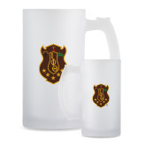 Full Color Decorative Frosted Glass Mug 16oz-Crest