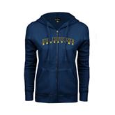 ENZA Ladies Navy Fleece Full Zip Hoodie-UC Irvine Anteaters Arched