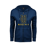 ENZA Ladies Navy Fleece Full Zip Hoodie-Water Polo