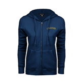 ENZA Ladies Navy Fleece Full Zip Hoodie-UC Irvine Anteaters Arched