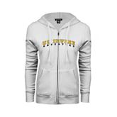 ENZA Ladies White Fleece Full Zip Hoodie-UC Irvine Anteaters Arched