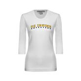 Ladies White 3/4 Sleeve Scoop Neck-UC Irvine Anteaters Arched