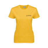 Ladies Gold T Shirt-UC Irvine Anteaters Arched