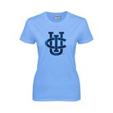 Ladies Sky Blue T Shirt-Official Logo Foil