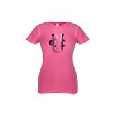Youth Girls Fuchsia Fashion Fit T Shirt-Official Logo Foil