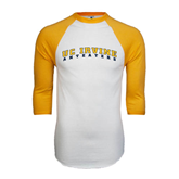White/Gold Raglan Baseball T-Shirt-UC Irvine Anteaters Arched