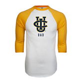 White/Gold Raglan Baseball T-Shirt-Dad