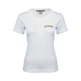 Ladies White Stretch Scoop Neck-UC Irvine Anteaters Arched