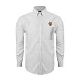 Mens White Oxford Long Sleeve Shirt-Official Logo