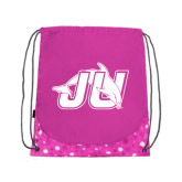 Nylon Pink Bubble Patterned Drawstring Backpack-Official Logo