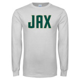 White Long Sleeve T Shirt-JAX Wordmark