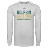 White Long Sleeve T Shirt-Dolphin Nation