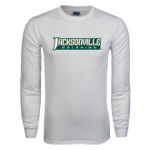White Long Sleeve T Shirt-Jacksonville Dolphins Word Mark