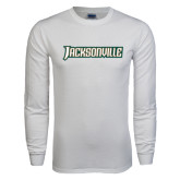 White Long Sleeve T Shirt-Jacksonville Word Mark