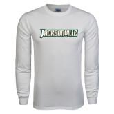 White Long Sleeve T Shirt-Jacksonville Word Mark