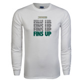 White Long Sleeve T Shirt-Fins Up