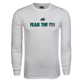 White Long Sleeve T Shirt-Fear the Fin