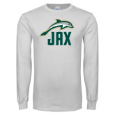 White Long Sleeve T Shirt-Dolphin JAX
