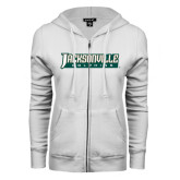 ENZA Ladies White Fleece Full Zip Hoodie-Jacksonville Dolphins Word Mark