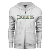 ENZA Ladies White Fleece Full Zip Hoodie-Jacksonville Word Mark