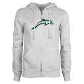 ENZA Ladies White Fleece Full Zip Hoodie-Dolphin