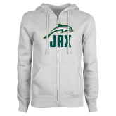 ENZA Ladies White Fleece Full Zip Hoodie-Dolphin JAX
