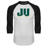 White/Black Raglan Baseball T Shirt-JU
