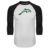 White/Black Raglan Baseball T Shirt-Dolphin