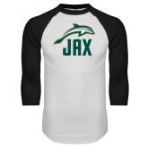 White/Black Raglan Baseball T Shirt-Dolphin JAX
