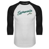White/Black Raglan Baseball T Shirt-Script Jacksonville