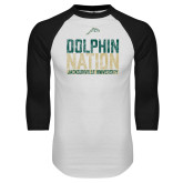 White/Black Raglan Baseball T Shirt-Dolphin Nation