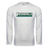 Syntrel Performance White Longsleeve Shirt-Jacksonville Dolphins Word Mark