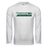 Performance White Longsleeve Shirt-Jacksonville Dolphins Word Mark
